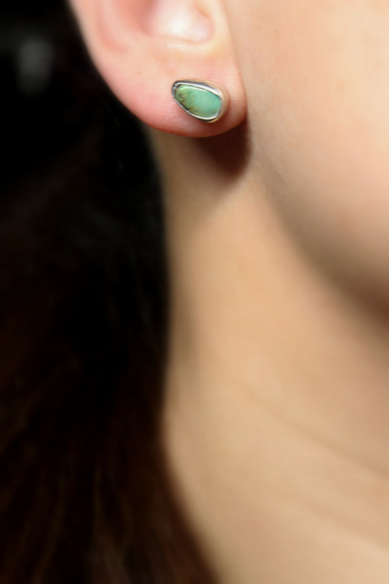 tiny green royston turquoise stud post earrings