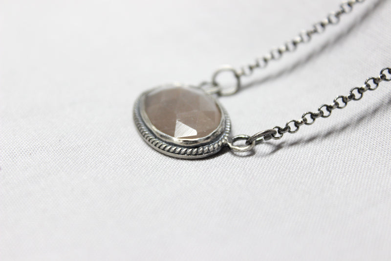 oval peach grey rose cut moonstone necklace