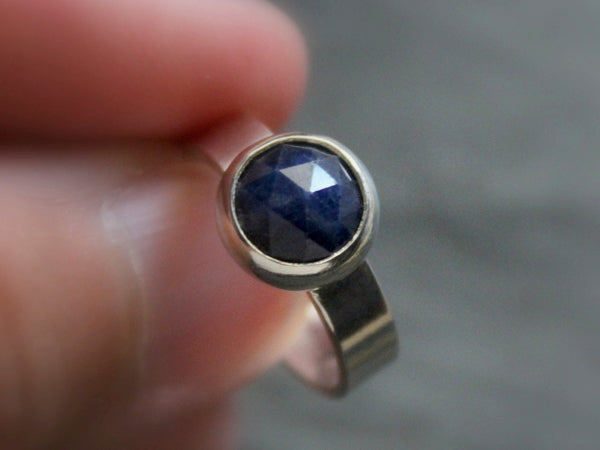 rose cut blue sapphire sterling silver ring