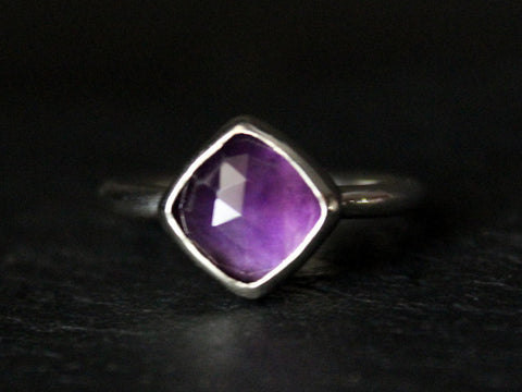 rose cut cushion amethyst sterling silver ring
