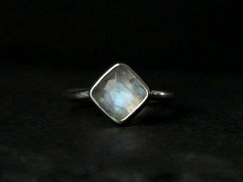 rose cut cushion rainbow moonstone sterling silver ring