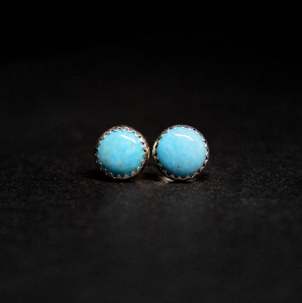 8mm kingman turquoise stud earrings