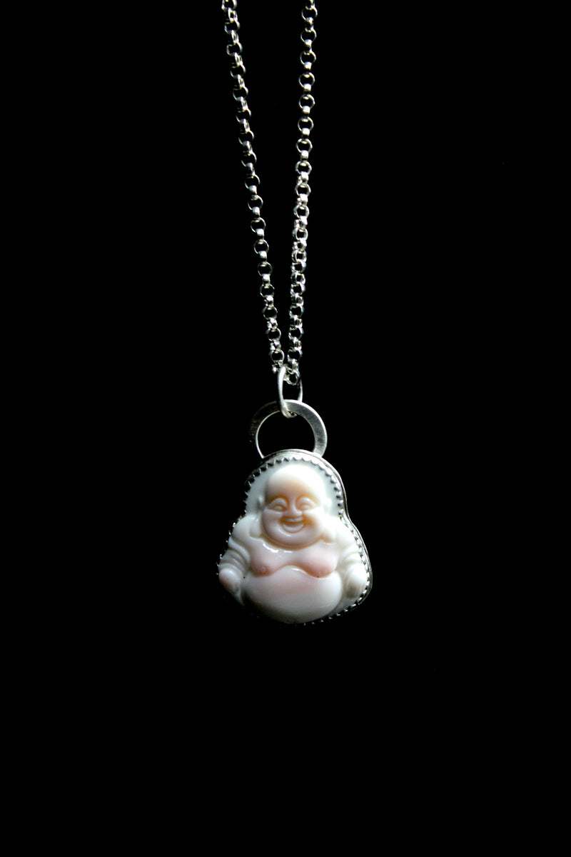 blush pink conch shell buddha necklace