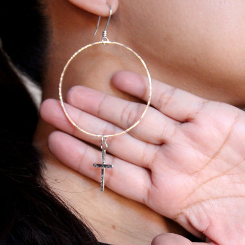 cross hoop earrings - sterling silver