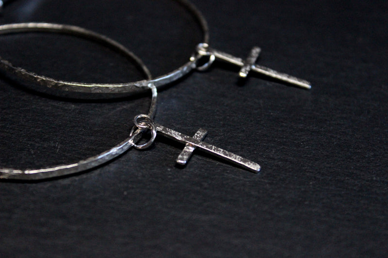 cross hoop dangle earrings