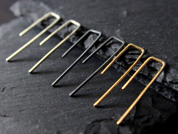 hammered bar hook earrings / 14k gold fill oxidized sterling silver
