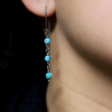 KINGMAN TURQUOISE THREADER EARRINGS - STERLING SILVER EAR THREADS
