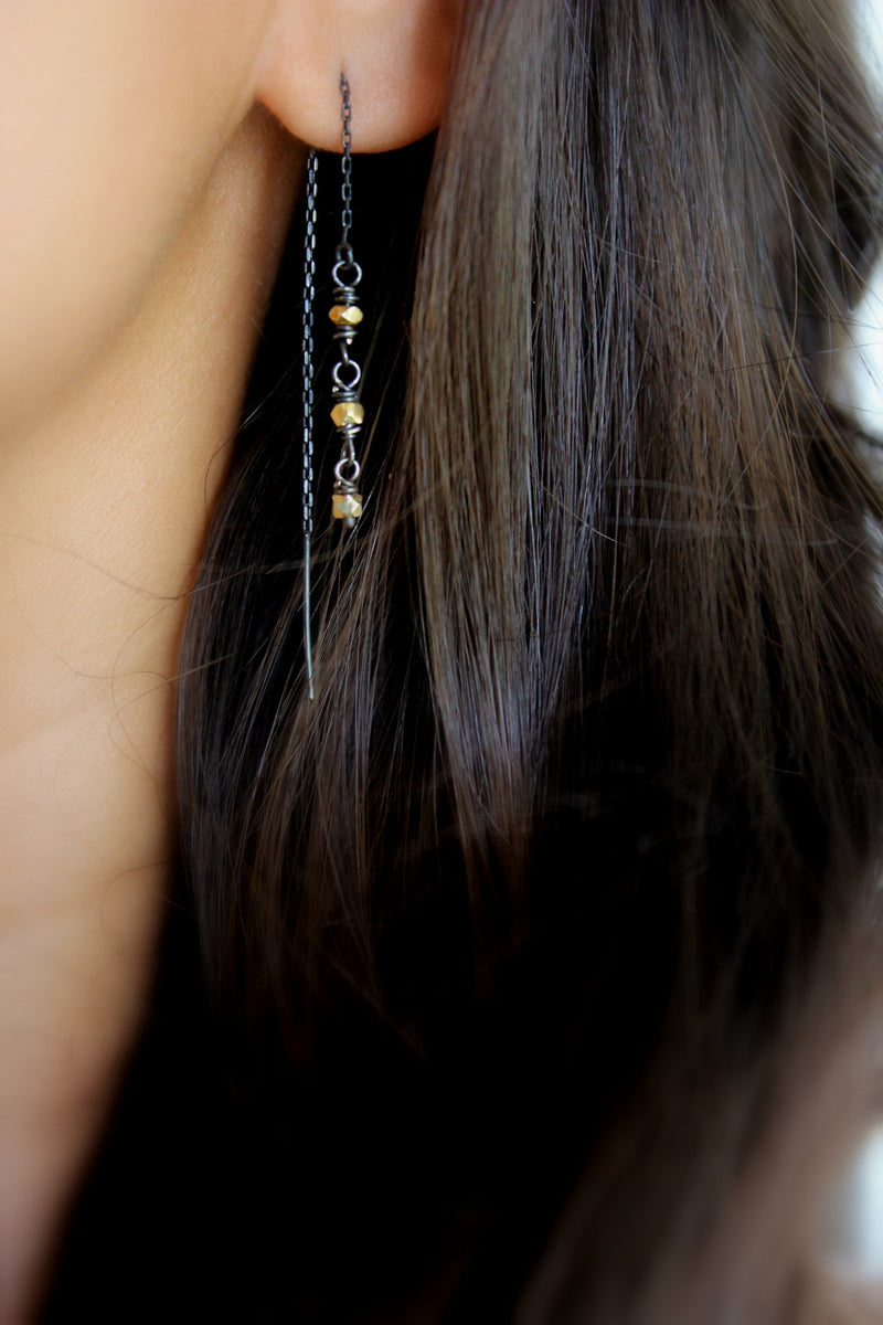 22k gold vermeil ear threads/threader earrings
