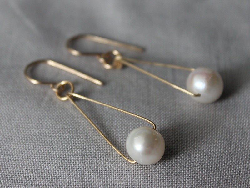 large pearl drop earrings- sterling silver or 14k gold fill