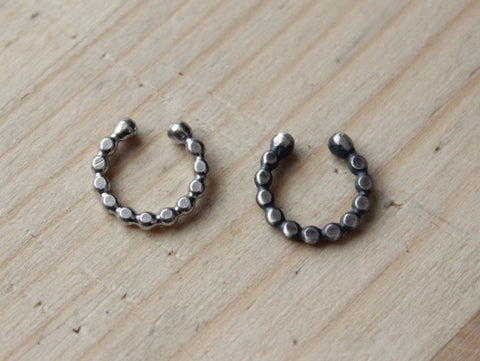 simple dotted faux septum captive nose ring / sterling silver