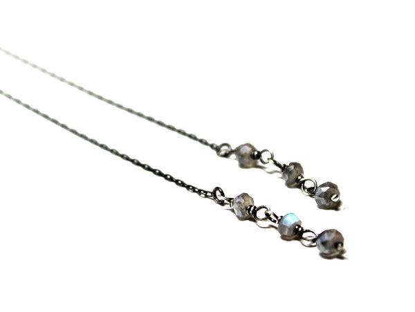 labradorite threader earrings / oxidized sterling silver ear threads