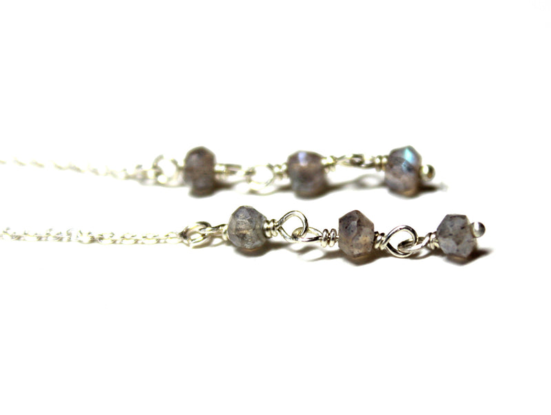 labradorite ear threads/threader earrings