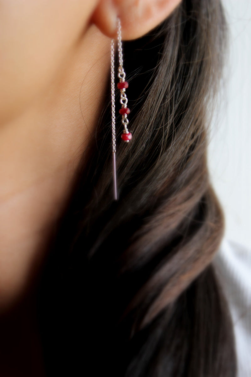ruby ear threads/threader earrings