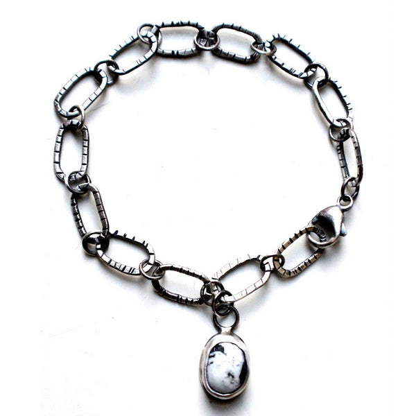 white buffalo turquoise chain link sterling silver bracelet - unisex