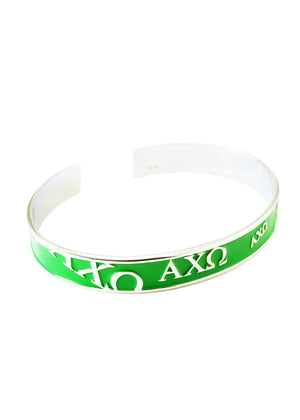 Accessories - Alpha Chi Omega Bangle Cuff Bracelet (Green)