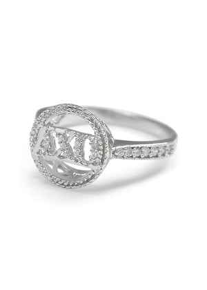 Accessories - Alpha Chi Omega Circular Halo Ring With CZs