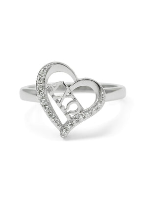 Accessories - Alpha Chi Omega Sterling Silver Heart Ring With CZs