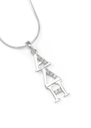 Accessories - Alpha Delta Eta Sterling Silver Lavaliere With Simulated Diamonds