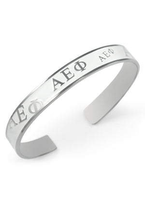 Accessories - Alpha Epsilon Phi Bangle Cuff Bracelet (White)