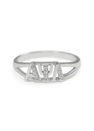 Accessories - Alpha Psi Lambda Sterling Silver Rings With Simulated Diamonds