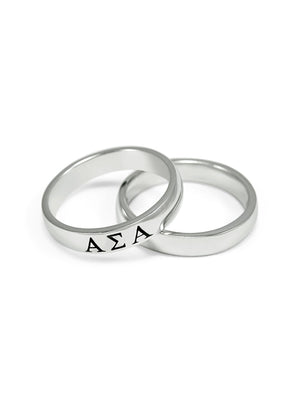 Accessories - Alpha Sigma Alpha Sterling Silver Ring With Black Enamel