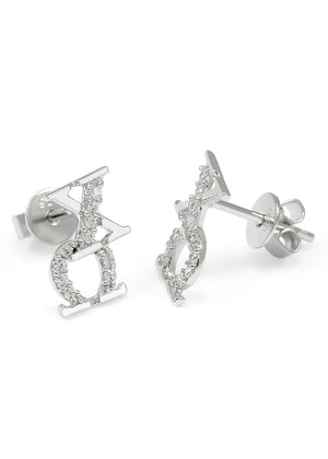 Accessories - Chi Omega Sorority Earrings With Simulated Diamonds