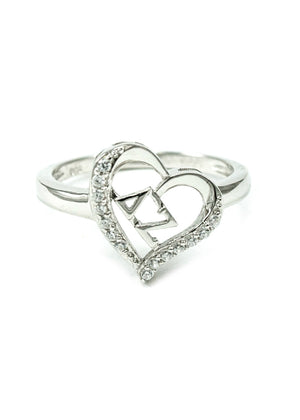 Accessories - Delta Zeta Sterling Silver Heart Ring With Simulated Diamonds