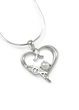 Accessories - Lambda Theta Alpha Sterling Silver Heart Pendant With Pearl