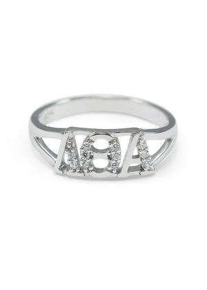 Accessories - Lambda Theta Alpha Sterling Silver Ring With Simulated Diamonds