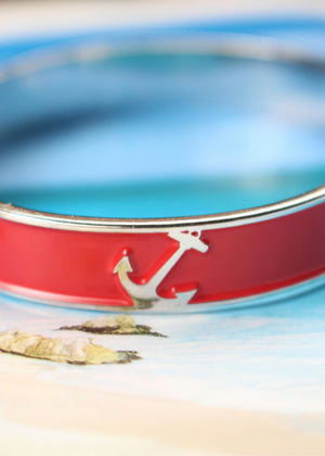 Accessories - Nautical Candy-Apple Red Anchor Cuff Bracelet