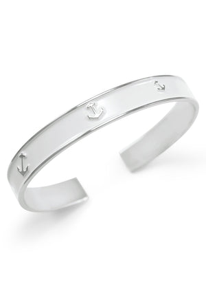 Accessories - Nautical Frosty White Anchor Cuff Bracelet