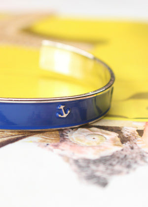 Accessories - Nautical Navy Blue Anchor Cuff Bracelet