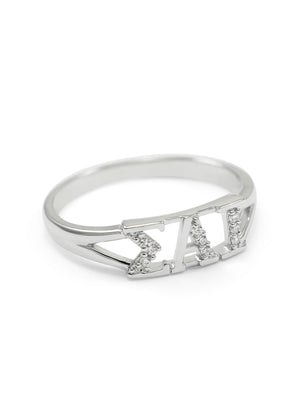 Accessories - Sigma Alpha Iota Sterling Silver Ring With Simulated Diamonds
