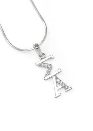 Accessories - Sigma Alpha Sterling Silver Lavaliere With Simulated Diamonds