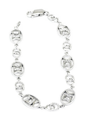 Accessories - Sigma Kappa Sterling Silver Bracelet With Simulated Diamonds