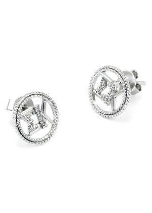 Accessories - Sigma Kappa Sterling Silver Circular Earrings With Simulated Diamonds