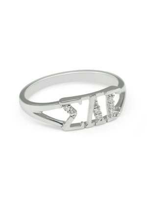 Accessories - Sigma Lambda Gamma Sterling Silver Ring With Diamonds
