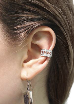 Earrings - Alpha Chi Omega Sterling Silver Ear Cuff With CZs