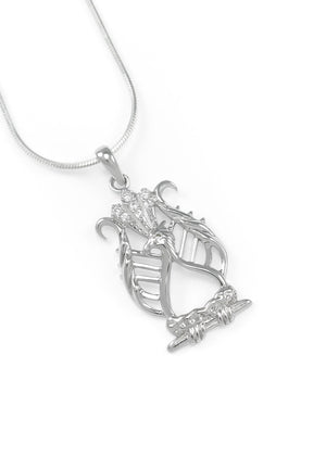 Necklace - Alpha Chi Omega Lyre Bird Pendant With Simulated Diamonds