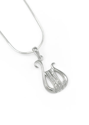 Necklace - Alpha Chi Omega Sorority Lyre Pendant With CZs