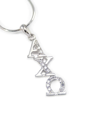 Necklace - Alpha Chi Omega Sterling Silver Diagonal Lavaliere With Simulated Diamonds