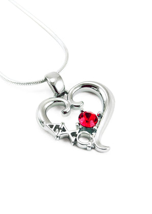 Necklace - Alpha Chi Omega Sterling Silver Heart Pendant With Red CZ Crystal