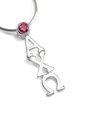 Necklace - Alpha Chi Omega Sterling Silver Lavaliere Pendant With Red CZ Crystal