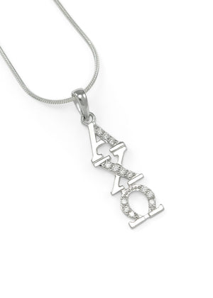 Necklace - Alpha Chi Omega Sterling Silver Lavaliere With Simulated Diamonds