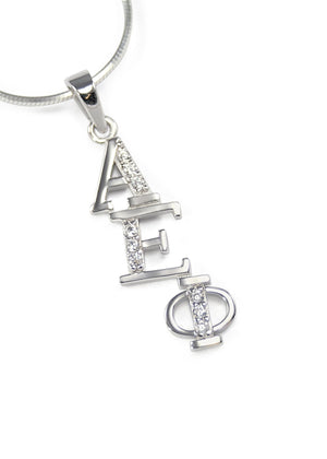 Necklace - Alpha Epsilon Phi Diagonal Lavaliere With Simulated Diamonds