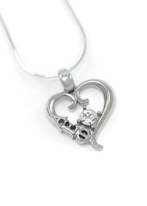 Necklace - Alpha Epsilon Phi Sterling Silver Heart Pendant With Clear CZ Crystal