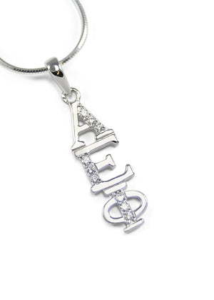 Necklace - Alpha Epsilon Phi Sterling Silver Lavaliere With Simulated Diamonds