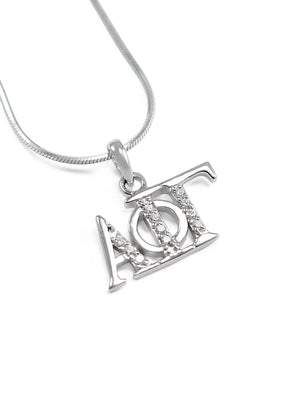 Necklace - Alpha Phi Gamma Horizontal Lavaliere With Simulated Diamonds