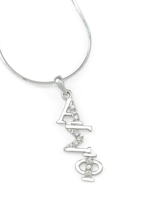 Necklace - Alpha Sigma Phi Sterling Silver Diagonal Lavaliere With Simulated Diamonds
