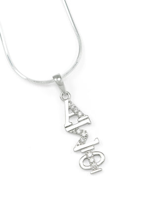 Necklace - Alpha Sigma Phi Sterling Silver Lavaliere With Simulated Diamonds